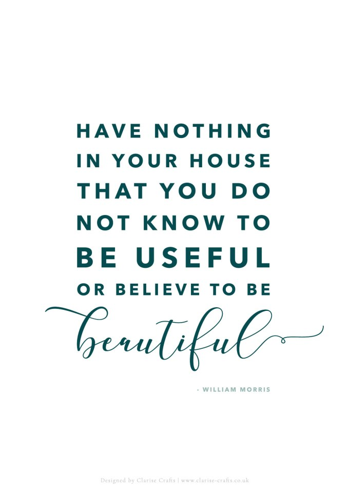 William Morris Quote - Have nothing in your house that you do not know to be useful or believe to be beautiful.